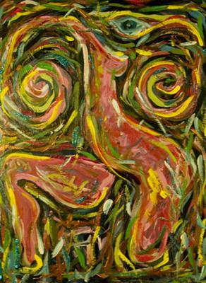 Self Portrait with a Migraine, Acrylic on Mahogany